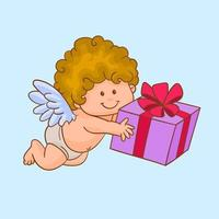 Cupid or love angel carrying a gift vector