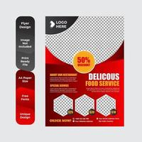 Food Delivery Flyer Pamphlet brochure design template vector