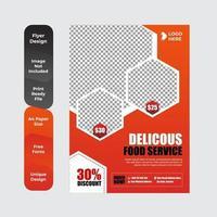 Plantilla de diseño de folleto de folleto de volante de entrega de alimentos vector