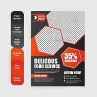folleto de comida deliciosa o diseño de volante vector
