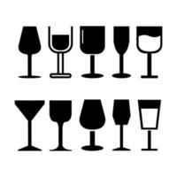 Set Of Wine Glass On White Background vector