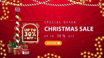 oferta especial, venta de navidad, hasta 30 de descuento, banner de descuento rojo con cartel del polo norte con oferta, guirnaldas y botón
