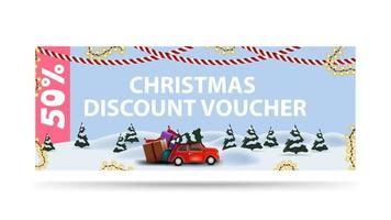 Christmas discount voucher, up to 50 off on all purchases. Discount voucher with Christmas cartoon landscape with red car carrying Christmas tree vector