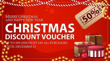 Christmas voucher with large price tag, Christmas tree branches and garland frame. Discount voucher, up to 50 off on all purchases. vector