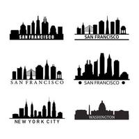 Set Of US City Skylines On White Background vector
