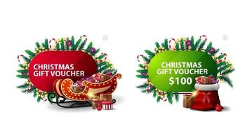 Christmas discount voucher, red and green discount banners in cartoon style decorated with Christmas elements, Santa sleigh and Santa bag vector