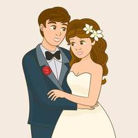 Pretty bride and stylish groom vector