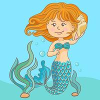 Beautiful mermaid with shell vector