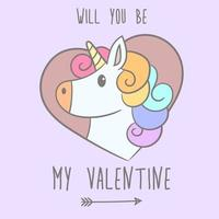 lindo unicornio enamorado vector