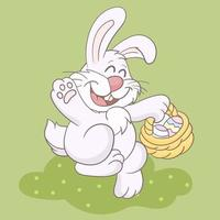 Little bunny with decorated eggs in basket vector