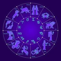 Circle with zodiac signs vector