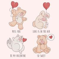 A set of funny animals with hearts