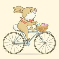 Easter rabbit ridding on a bicycle vector