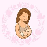 Mother with newborn baby vector