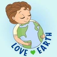 Girl hugging earth planet globe vector