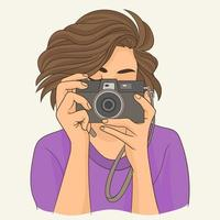 Close up of a photographer vector