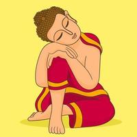 Colorful sleeping Buddha vector