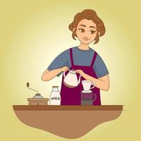 Woman with smile makes coffee in kitchen vector