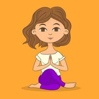 Yoga girl on fitness class vector