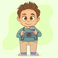 fotógrafo profesional de pie contra vector