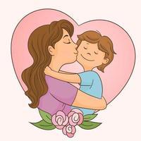 madre besa a su niño vector