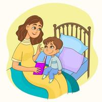 Mother sitting in the bed reading a book with her  son on her knees