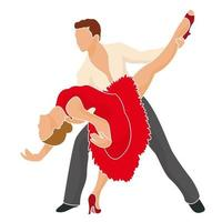 Hermosa joven pareja bailando mientras está de pie contra el fondo blanco. vector