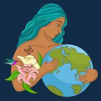 Mother earth day character vector