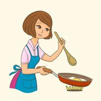Woman standing by the stove in the kitchen cooking vector