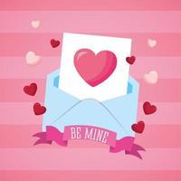 feliz dia de san valentin tarjeta con sobre y corazon