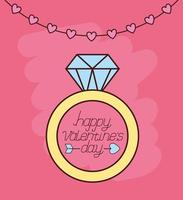 valentines day celebration with proposal ring vector