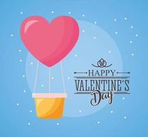 happy valentines day card with hot air balloon vector