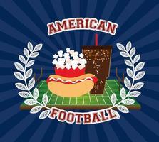 cartel deportivo de fútbol americano con comida rápida vector
