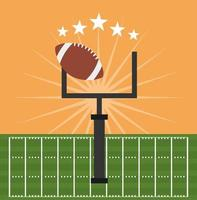 american football sport poster with ball and goal