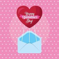 happy valentines day card with envelope and heart vector