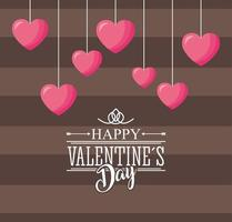 happy valentines day card with hearts hanging vector
