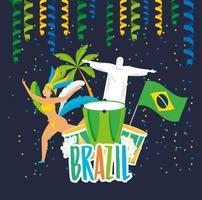 Chica brasileña en un baile de disfraces de carnaval vector