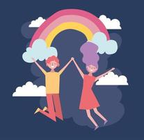 valentines day celebration with lovers and rainbow vector