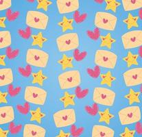 Tarjeta de feliz día de San Valentín con sobres y patrón de corazones