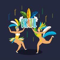 chicas brasileñas en trajes de carnaval bailando vector