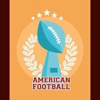 American football sport poster with trophy vector