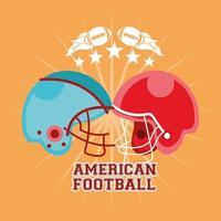 cartel de deporte de fútbol americano con cascos vector