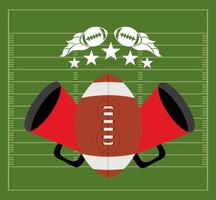 American football sport banner with ball and megaphone