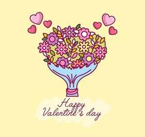 valentines day celebration with flower bouquet vector