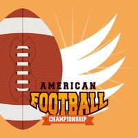 American football sport banner with ball and wings vector