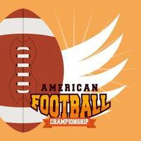 Banner de deporte de fútbol americano con pelota y alas vector