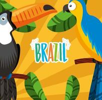 Brazilian Carnival celebration with lettering and toucan