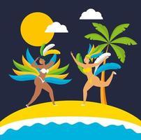 Brazilian girls in Carnival costumes dancing