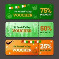 Set of Voucher or Coupon Celebrating Saint Patrick's Day vector