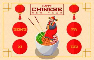 A Chinese Man Sitting on Noodles Celebrating New Year vector